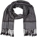 Sakkas 70'' x 28'' Paisley Self-Design Shawl/Wrap/Stole - Black/Gray paisley