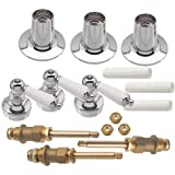 Danco 39695 Trim Kit with Porcelain Lever Handles for Price Pfister Triple-Handle Tub and Shower Faucets