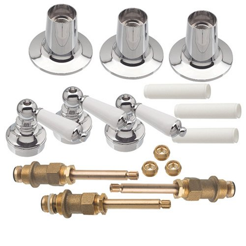 DANCO Trim Kit for Price Pfister Triple-Handle Tub and Shower Faucets, 3-Handle, Porcelain, 1-Pack Kit (39695) (Supply Faucet Kit)