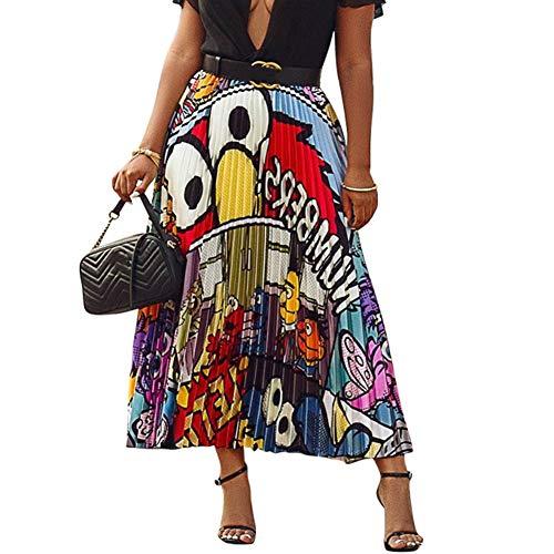 (Ali Mei Women's Cartoon Printed Pleated Skirts Graffiti A-Line Skirt Vintage Skirts, 1, Small)