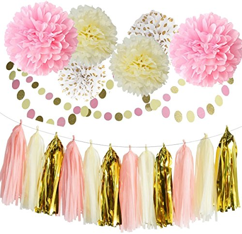 Pom Poms Decoration 20PC Kit Party Tissue Paper Craft Pastel Flowers Tassels Garlands For Wedding Bridal Birthday Party Great Gatsby Hollywood Glam Flores de Papel Decoracion - PPD7
