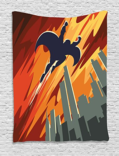 Ambesonne Vintage Decor Tapestry, Silhouette Superhero Over Apartments