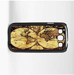 Tan and Black Vintage Map Hard Snap on Phone Case (Galaxy s3 III)