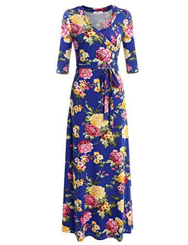 Beyove Womens Bohemian Printed Wrap Bodice Short Sleeve Crossover Maxi Dress, Navy/S