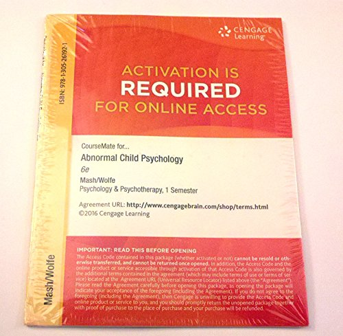 CourseMate, 1 term (6 months) Printed Access Card for Mash/Wolfe's Abnormal Child Psychology, 6th