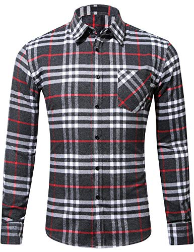DOKKIA Men's Dress Slim Fit Buffalo Plaid Checkered Long Sleeve Flannel Shirts (Charcoal Red White, Small)