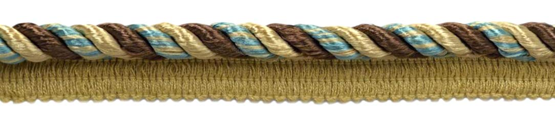 DÉCOPRO 24 Yard Package|Multi Colored 3/8 inch Light Peacock Blue Color, Camel Gold Cord with Sewing Lip|Style# 0038MLT|Color: PR24 (72 Feet / 21.9 Meters) by DÉCOPRO