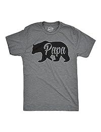 Mens Bear Papa Funny Shirts for Dads Gift Idea Novelty Tees Family T shirt (Dark Grey) -L