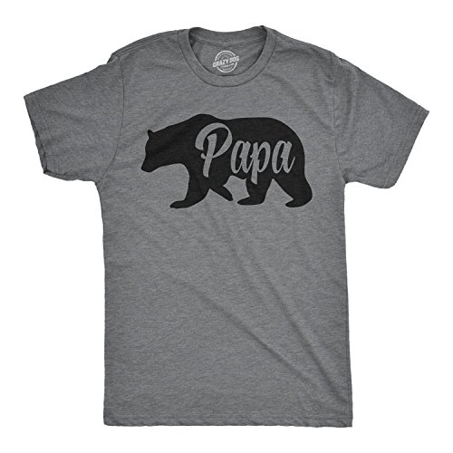 Mens Papa Bear Funny Shirts for Dads Gift Idea Novelty Tees Family T Shirt (Dark Heather Grey) - L ()