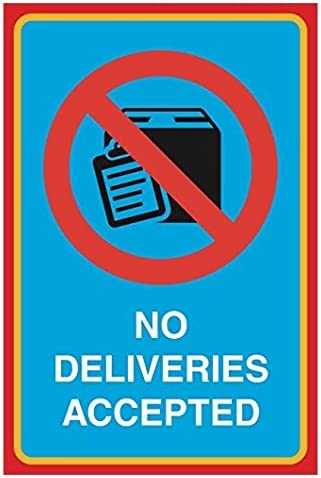 CR Pix No Delivieries Accepted Print Box Clipboard Picture Large Window Office Business Sticker Sign for Business Wall Window Any Smooth Surface