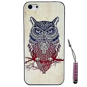 WQQ cola rojo-azul búhos patrón de cabeza estuche rígido&pluma del tacto para el iphone 4 / 4s
