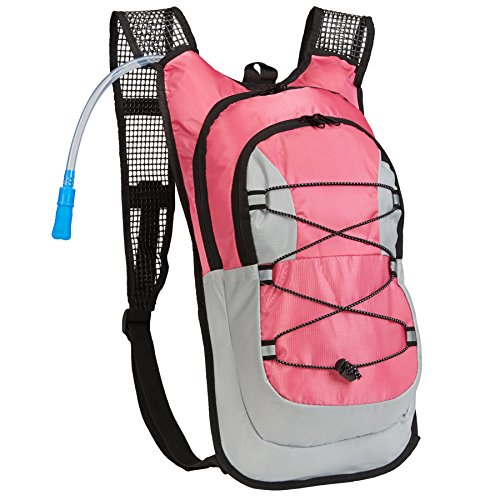 Equipped Outdoors Survival Hydration Pack - 2 Liter Water Bladder with Extra Large Storage Compartment, Pink
