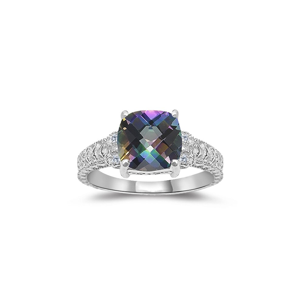0.04 Cts Diamond & 2.12 Cts AAA Mystic Topaz Ring in 14K White Gold-7.0