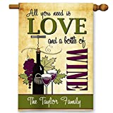 Wine Lover Personalized All You Need is Love and Wine Double-Sided Garden/House Flag