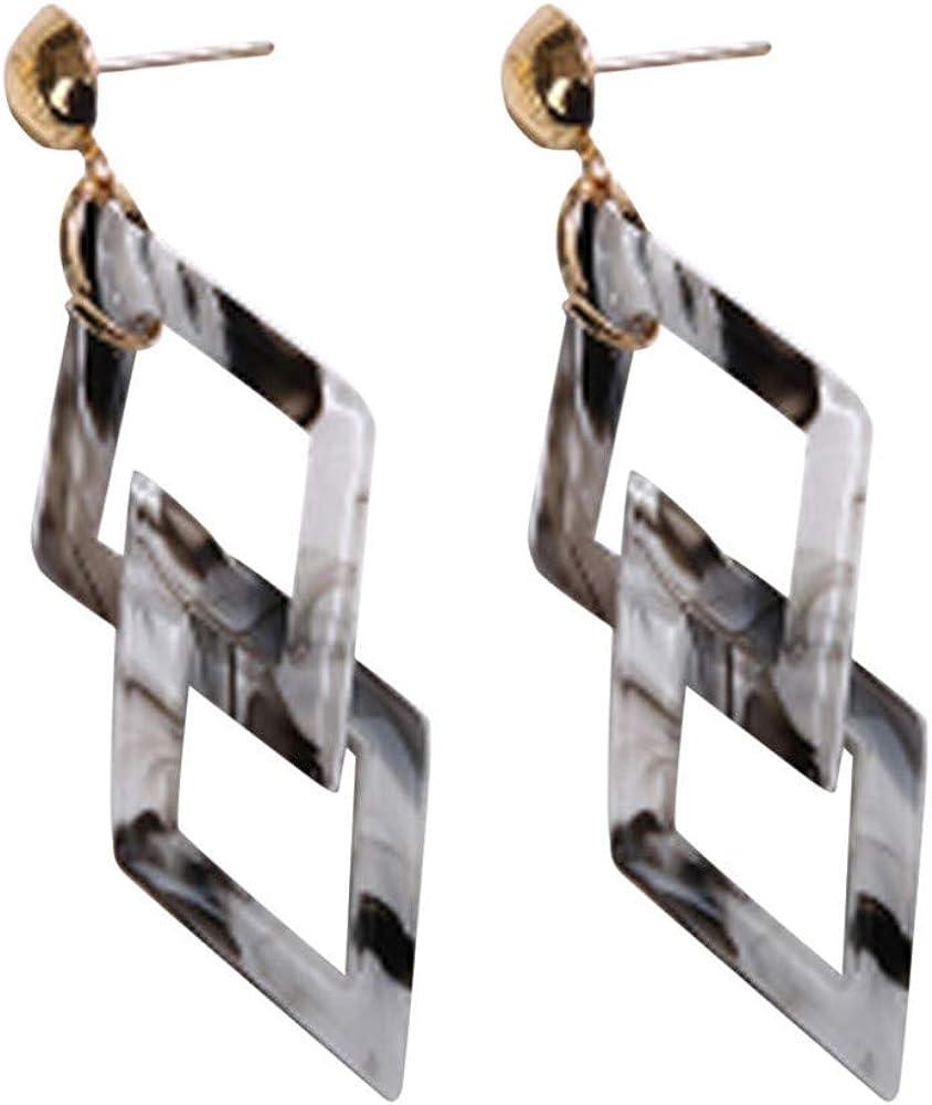 pendientes de mujer moda aretes colgante salvajes casuales pendientes de doble cuadrilátero geométricos acrílicos vintage joyas para mujeres