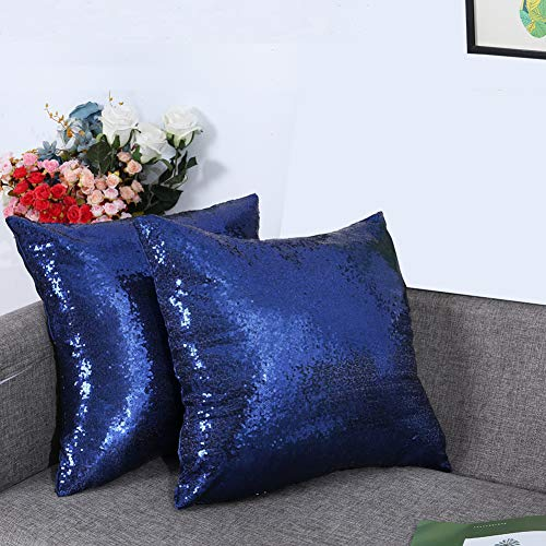 Eternal Beauty Set of 2 Sequin Decorative Pillow Cover Navy Blue Throw Pillow Covers for Couch Sofa Throw Pillows 18 X 18 Inches (Royal Blue Gold And Pillows)