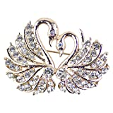Ailer Women's Sparkly Couple Swan Brooch with Bling Crystal Rhinestone for Wedding Daily Wear-Goldtone Color