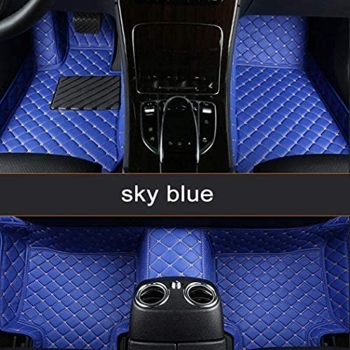 Custom for 95% of Car Models Car Floor Mats Full Covered Leather Front and Rear Carpets All Weather Protection Performance Floor Liner Blue
