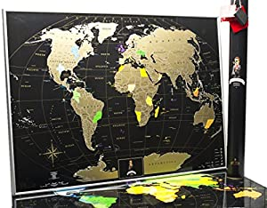 Amazoncom MyMap Deluxe Gold Black World Scratch Off Map W - Large us road map poster