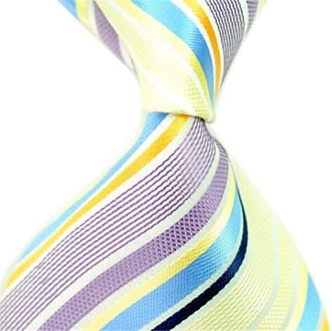 Allbebe Men's Fashion Striped Jacquard Woven Silk Tie Microfiber Formal Necktie