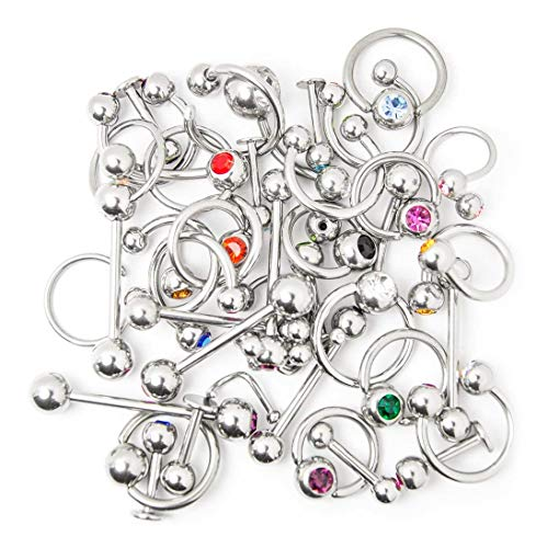 Overstock Body Jewelry - 40 Pieces Mixed 316L Surgical Steel - Lip, Ear, Nipple, Tongue ()