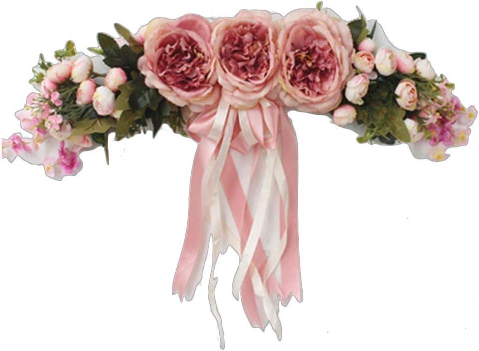ZHENYANG Swag Floral Artificial, dintel de la Puerta for la decoración de la Pared de la Puerta del Frente del Arco de la Boda (Color : Pink)