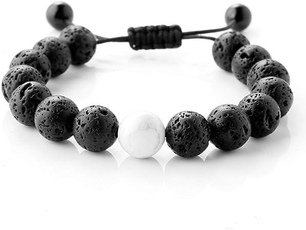 Mala Beads Black Agate Clear Quartz /& Black Lava Stone Essential Oil Diffuser Mala Bracelet Stack | Wrist Mala Choose your charm