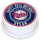 Minnesota Twins Edible Image Cake Topper Personalized Birthday 8'' Round Circle Decoration Custom Sheet Party Birthday Sugar Frosting Transfer Fondant Image ~ Best Quality Edible Image for cake