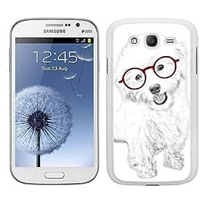 Funda carcasa TPU (Gel) para Samsung Galaxy Grand NEO Plus diseño perro blanco con gafas rojas borde blanco