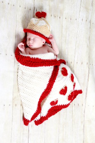 Queen of Hearts cocoon and Hat Crochet Pattern PDF 532