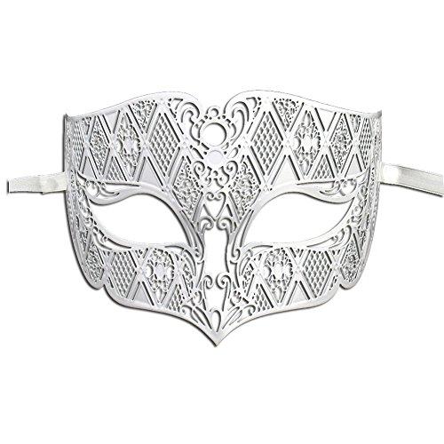 [Luxury Mask Diamond Design Laser Cut Venetian Masquerade Mask, White Without Stones, One Size] (White Mardi Gras Mask)