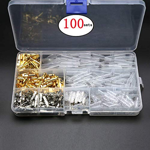 100sets 3.9mm Copper Wire Connector Kit with Clear Transparent Insulation Covers Brass Bullet Male & Female Brass Terminal Electrical Wire Connector Set Box-Packed