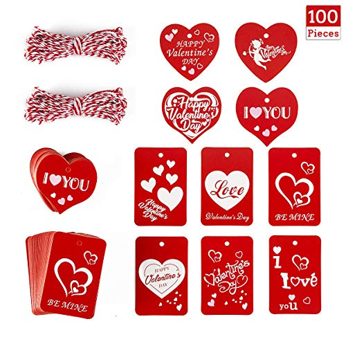 100 Pieces Valentine's Day Red Tags Kraft Paper Gift Hang Ta