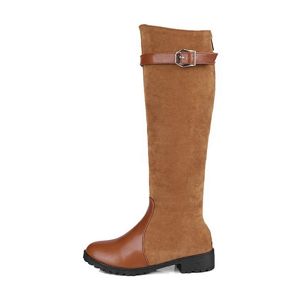 WeiPoot Womens Closed-Toe Knee-High Low-Heels Solid Frosted Boots EGHXH112471