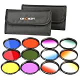 K&F Concept 58mm 12pcs Round Filter Set Include Full Color Filter Kit (Orange Blue Red Green Yelow Purple) + Graduated Filter Kit (Orange Blue Red Green Yelow Purple) for Canon 600D EOS M M2 700D 100D 1100D 1200D 650D DSLR Cameras + Filter Pouch
