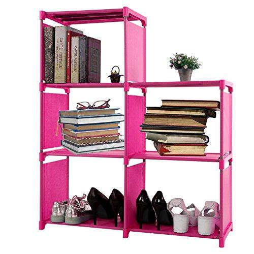 Adjustable Korean Style Home Furniture Book Storage Shelf Kids' 3 Tier 5 Shelves,Freestanding Sturdy Construction