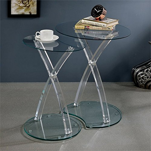 - Furniture of America Jan 2 Piece Glass Nesting Table Set in Clear