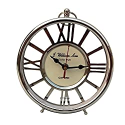 Marine Decorative Desk /Table Clock Brass Nickle Finish Handmade Authentic Functional Clock with roman letter.....