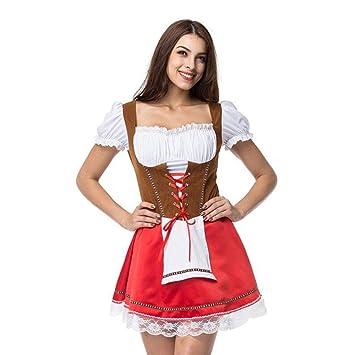 Vestido De Dirndl Alemán para Mujer Vestido Rosa Traje para ...