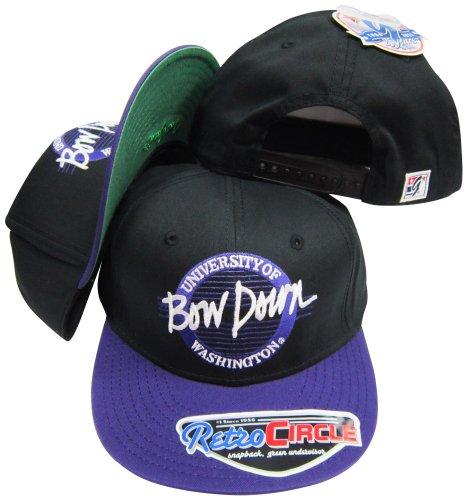 Washington Huskies Bow Down Circle Snapback Adjustable Snap Back Hat / - Deadstock Snapbacks Vintage