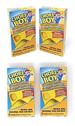 Chore Boy Golden Fleece Scrubbing Cloth - 4-Pack of 2 Cloths/Box (Total of 8 Scrubbing Cloths) by Chore Boy