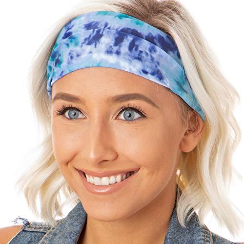 Hipsy Adjustable & Stretchy Wide Printed Xflex Headbands for Women Girls & Teens (Xflex Blue/Purple Tie Dye 1pk)