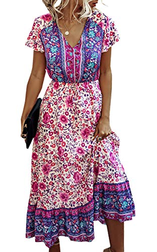 Angashion Women Dresses-Summer Casual Short Sleeve High Waist V Neck Floral Print Button Up Maxi Dress 190Purple L