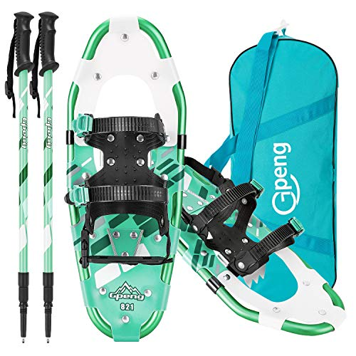 Gpeng 3-in-1 Xtreme Lightweight Terrain Snow Shoes for Women Men Youth Kids, Light Weight Aluminum Alloy Terrain Snowshoes with Trekking Poles and Carrying Tote Bag, 14