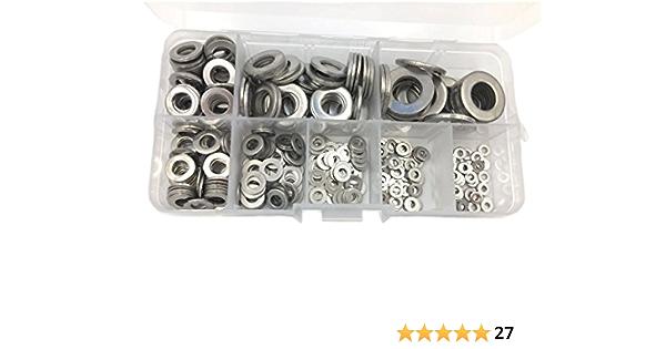Yuhtech 360PCS Flat Washer Stainless Steel Washer Assortment Set M2 M2.5 M3 M4 M5 M6 M8 M10