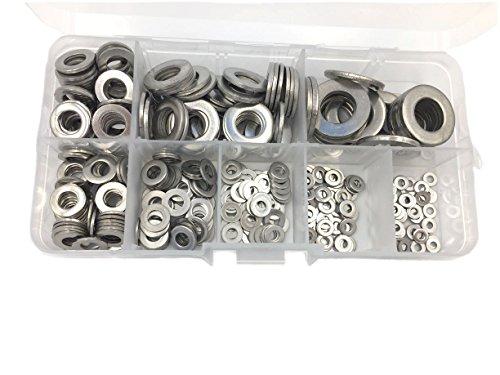 HVAZI 360PCS Stainless Steel Flat Washers Assortment Kit For M2 M2.5 M3 M4 M5 M6 M8 M10 screws bolt
