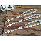 25 Pc Baptism Favors Mini Rosaries Frosted White with Silver Plated Accents/communion Favors Recuerditos De Bautismo/ Christening Favors/ Decenarios/ Decades/ Finger Rosaries