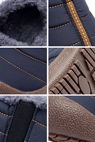 CIOR Men and Women Snow Boots Fur Lined Winter Outdoor Slip on Shoes Ankle Boots Blue/Low Top veGNPex