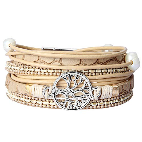 Jenia Tree of Life Leather Wrap Bracelet Pearl Multilayer Rope Braided Bracelet Casual Cuff Bracelets Bohemian Jewelry for Women, Lady, Mother, Wife, Teens Girls Gifts