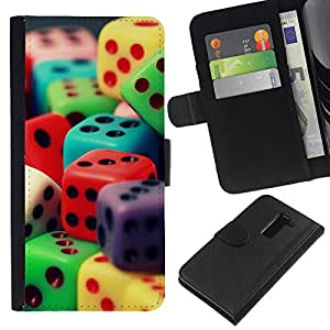 """Be-Star la tarjeta de Cr¨¦dito Slots PU Funda de cuero Monedero caso cubierta de piel Para LG G2 D800 ( Dados colorido juego juego de n¨²meros de juguete Poker"""" )"""